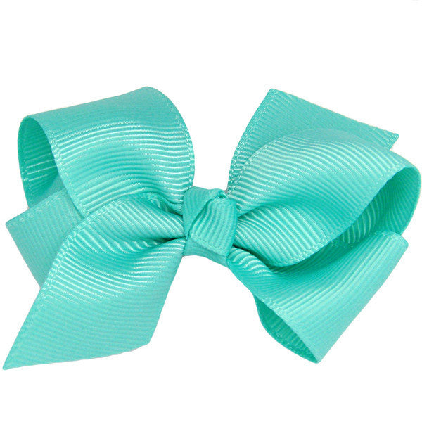 Rich aqua ribbon bow baby hair clip