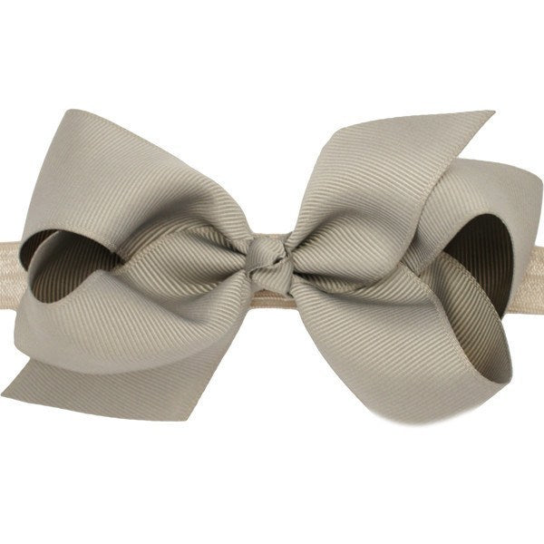 Alyssa Grey Medium Bow Baby Headband for Baby Girls