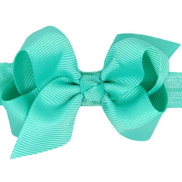 Aurelie Dark Aqua Baby Headband | Small Bow Stretchy Headband