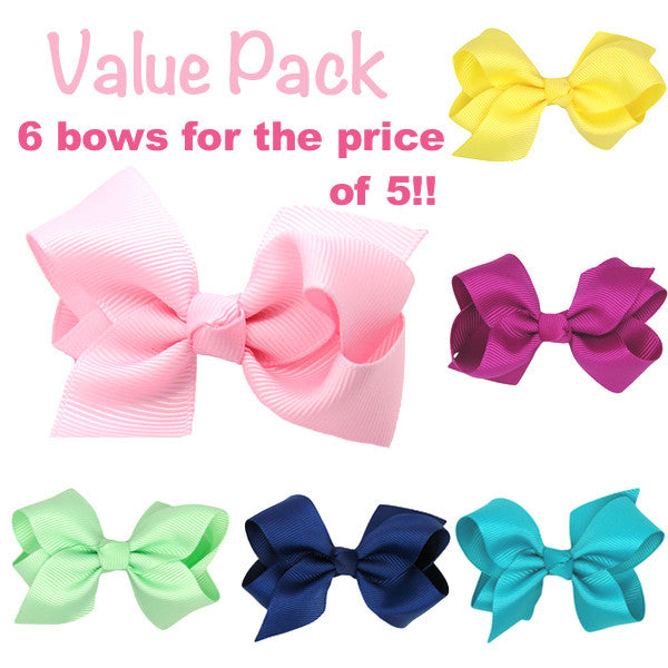 Value pack - 6 baby hair clips for the price of 5 baby bows
