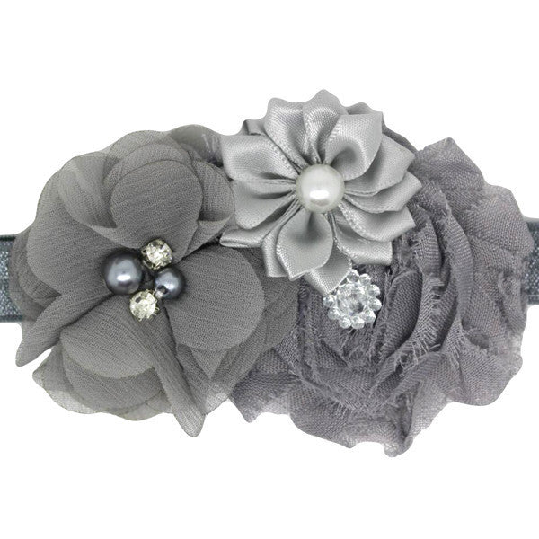 Adelle Grey Baptism Baby Headband For Christenings
