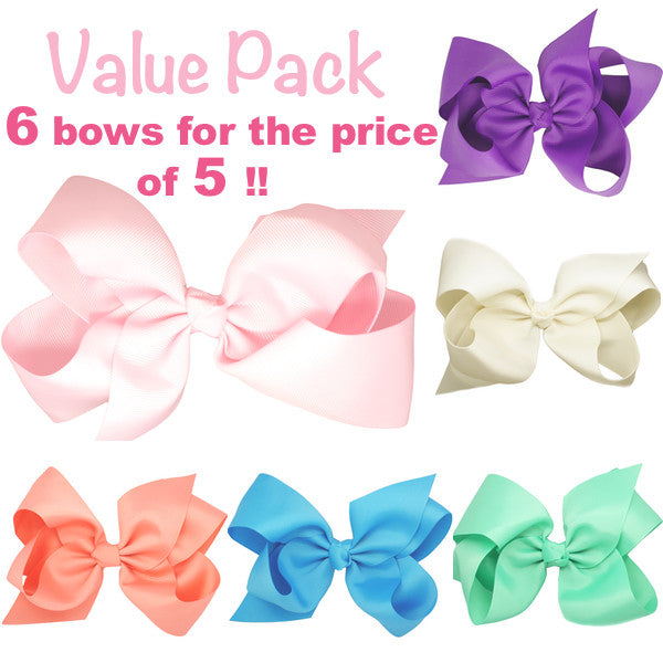 Value pack big bow hair clips for girls