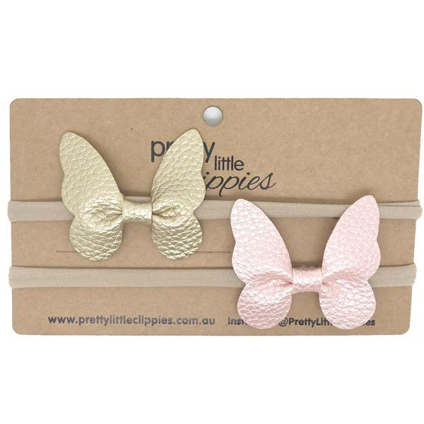 Gold and pink faux Leather Butterfly Baby Headbands