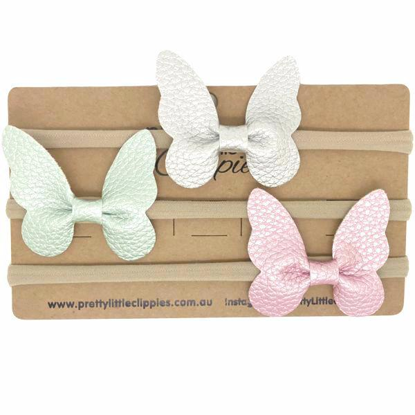 Faux Leather Butterfly Baby Headbands