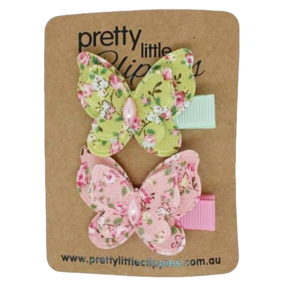 Pink Green Floral Butterfly Lined Baby Hair Clips