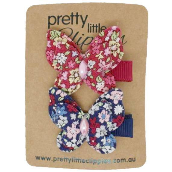 Navy red Floral Butterfly Lined Baby Hair Clips