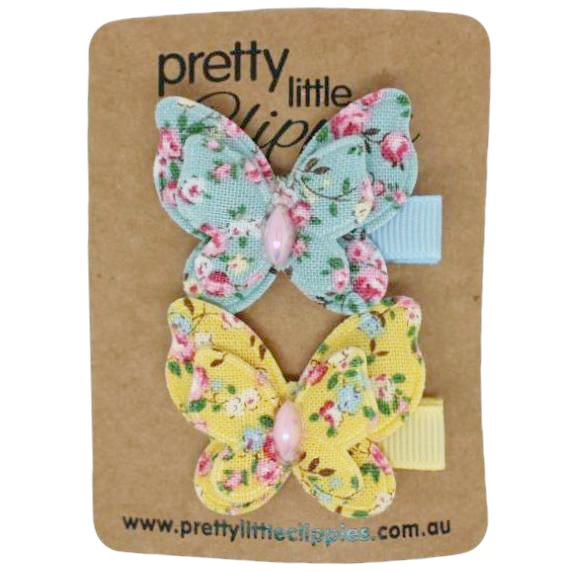 Yellow blue Floral Butterfly Lined Baby Hair Clips
