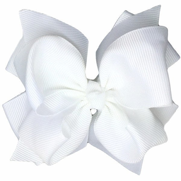 Claire White Trixie Bow Baby Headband for Newborn Baby Girls