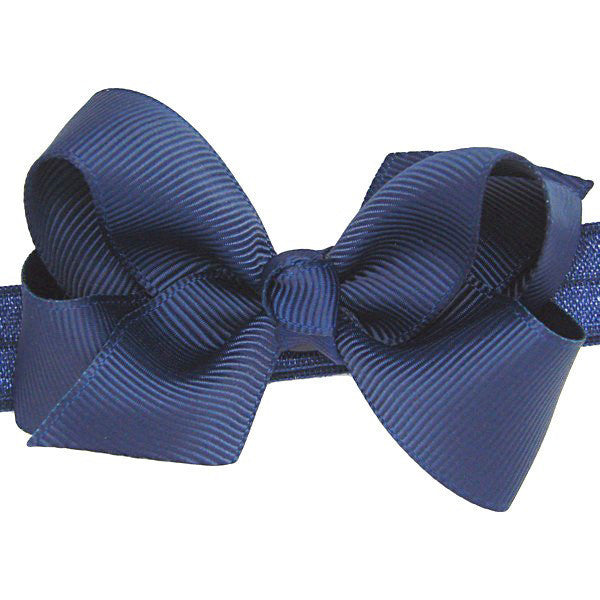 Ebony Navy Small Bow Baby Headband | Bows for Baby Girls