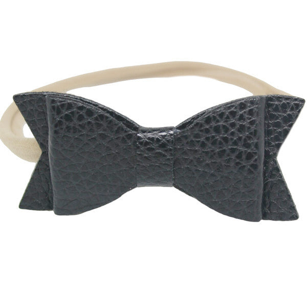 Black faux leather small bow baby headband one size