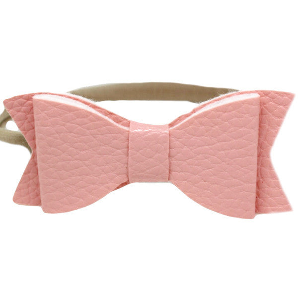 Pink faux leather small bow baby headband one size
