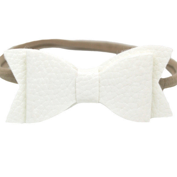 White faux leather small bow baby headband one size