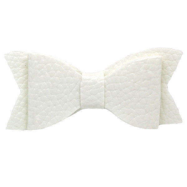 Faux leather bow baby hair clip in white