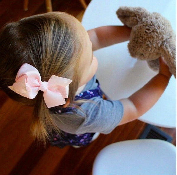 Aubrey Baby Pink Hair Bow & Hair Clip for Baby Girls