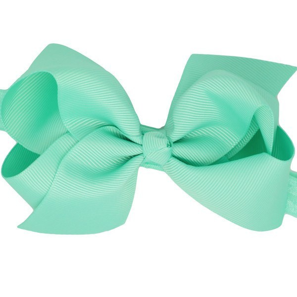 Florence Mint Medium Bow Baby Headband Newborn Stretchy Hairband