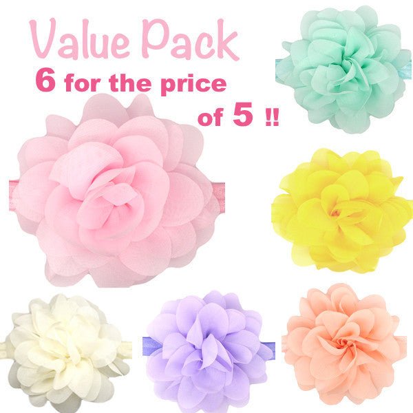 Value - 6 flower baby headbands for the price of 5