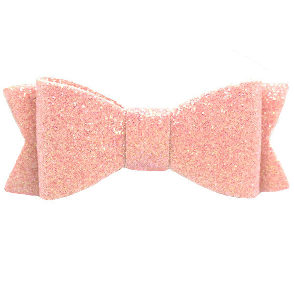 Pink glitter bow baby hair clip