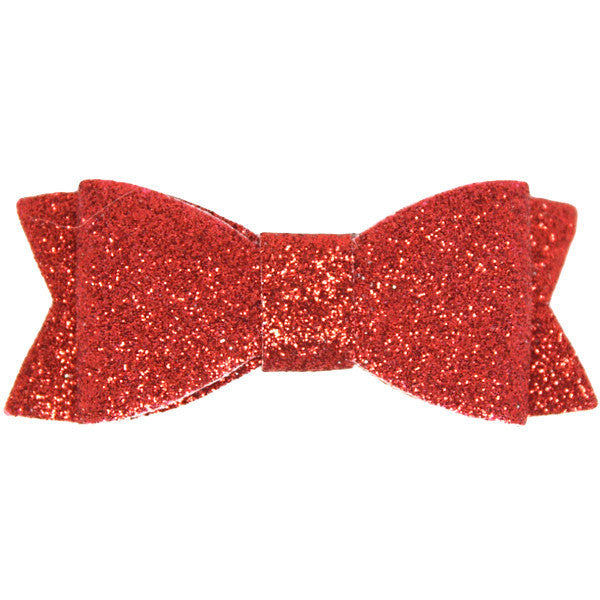 Red glitter bow baby hair clip