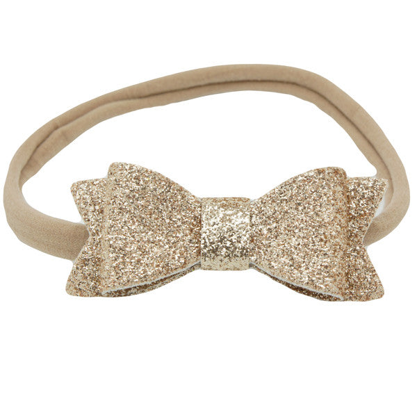 Gold glitter bow baby headband