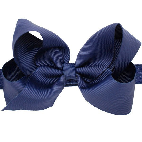 Hazel Navy Baby Headband Medium Bow Stretch Hairband