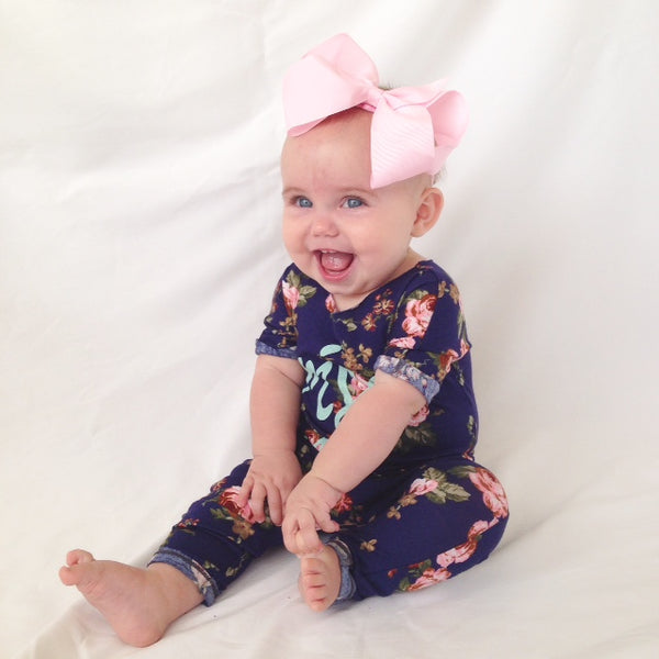 Candy pink big bow baby headband
