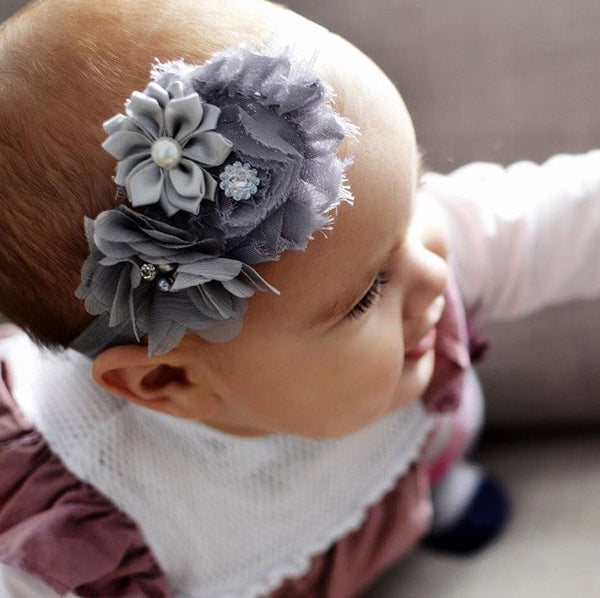 Adelle grey special occasion baby headband