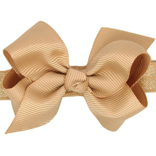 Lucille Tan Small Bow Baby Headband & Baby Hair Accessories