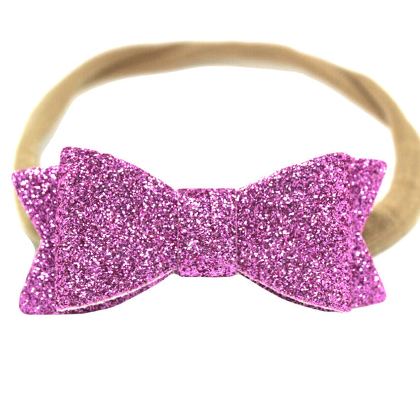 Pink lilac glitter bow baby headband