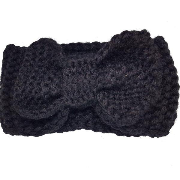 Lush cosy winter bow headbands for baby girls black