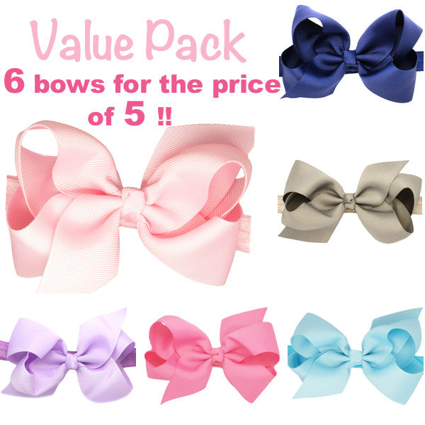 Value pack - Medium bow baby headbands 6 for the price of 5