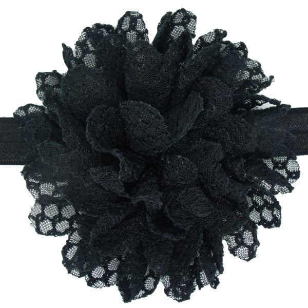 Black lace flower baby headband