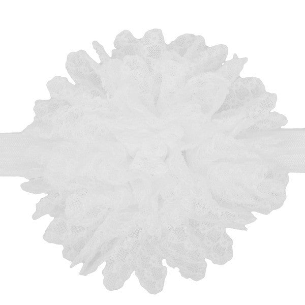 Yumi White Lace Flower Baby Headband