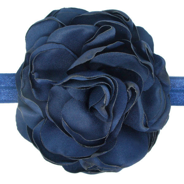 Navy flower baby headband stretch nylon satin headband