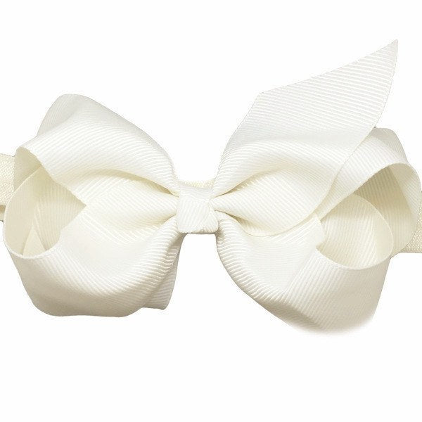 Olive Medium Bow Baby Headband in Ivory for Baby Girls