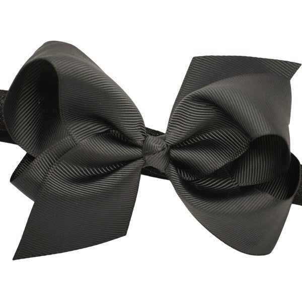 Opal Medium Bow Baby Headband in Black for Newborns