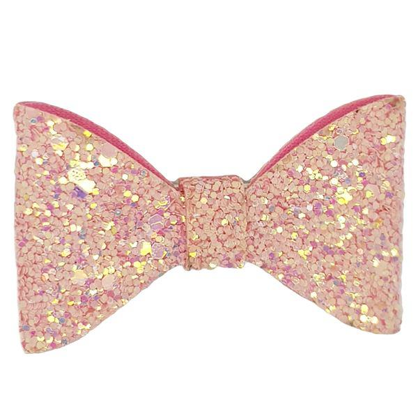 Pink Glitter Bow Clip