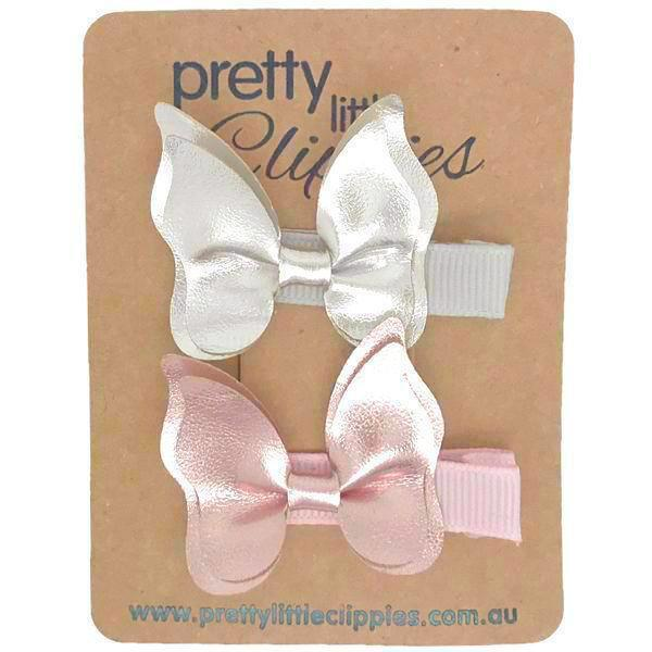 Pink Silver Fully Lined Butterfly Baby Hair Clips