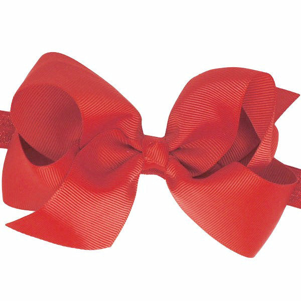 Willow big bow baby headband in red
