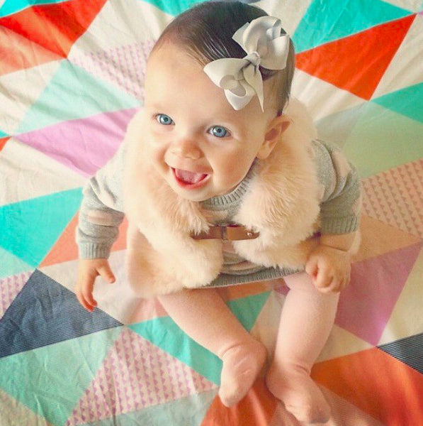 Ashley Light Grey Baby Bow Hair Clip and Girls Hair Accessory