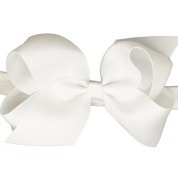 Renea Medium Bow White Baby Headband for Newborn Babies