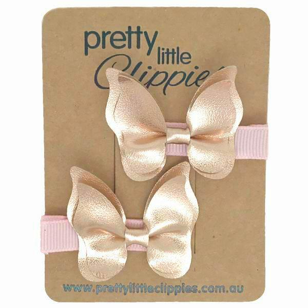 Rose Gold Butterfly Metallic Baby Hair Clips