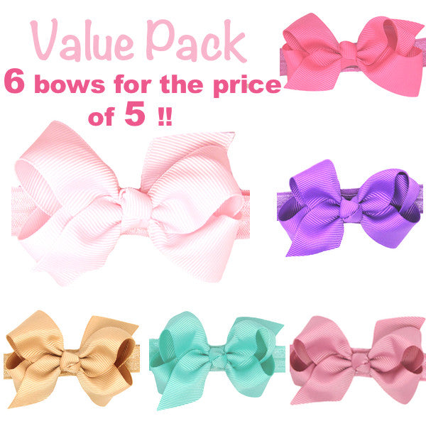 Value - 6 small bow baby headbands for the price of 5