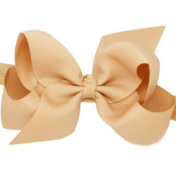Venice Medium Sized Bow Tan Baby Headband for BabyGirls