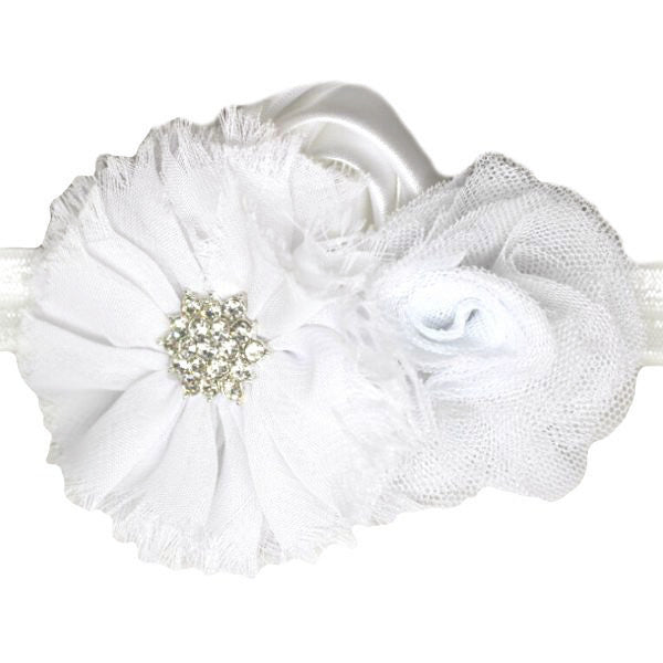 White shabby flower baby headband