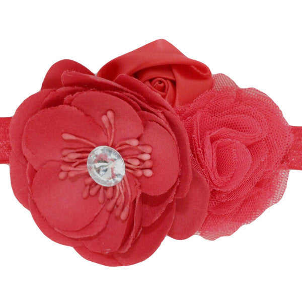 Red flower baby headband for baby girls