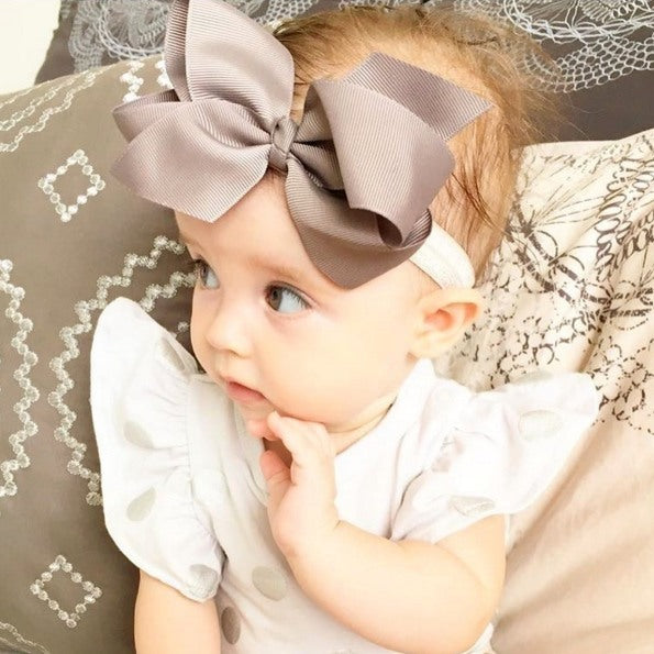 Alyssa medium bow baby headband in grey
