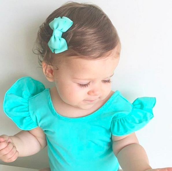 Chloe mint baby bow hair clip for baby girls