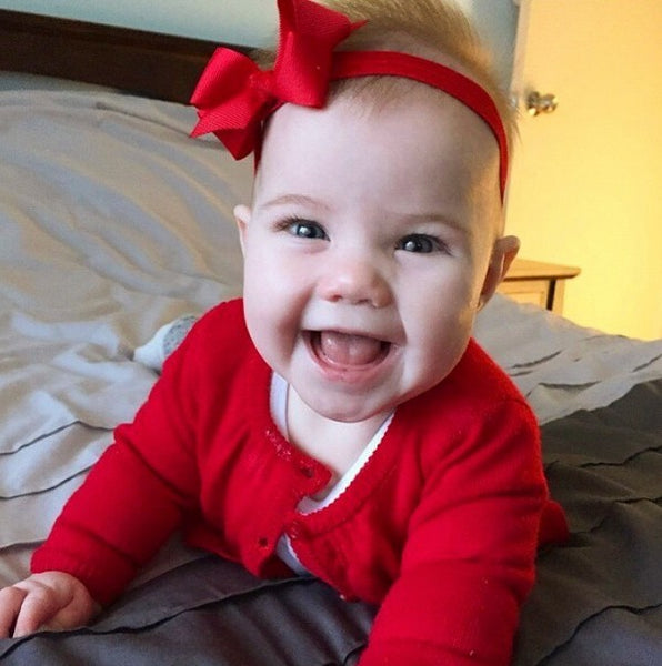 Gorgeous Harper wearing our Zaria baby headband