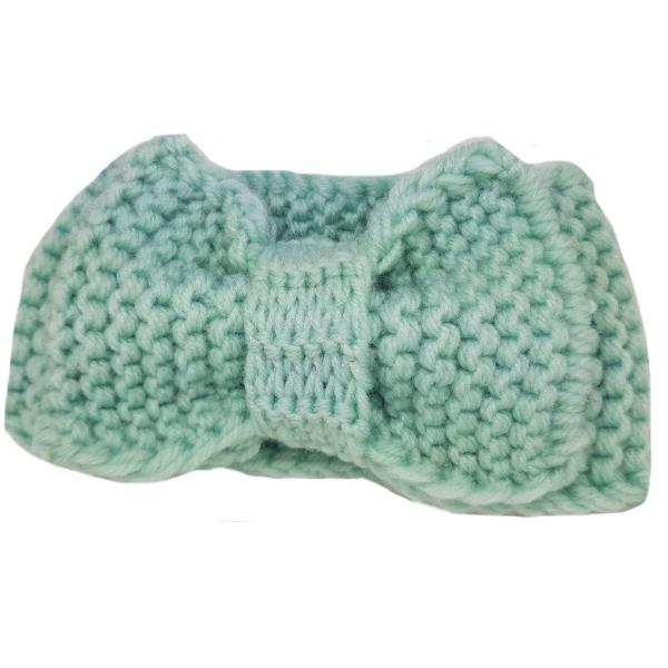 Lush cosy winter bow headbands for baby girls turquoise