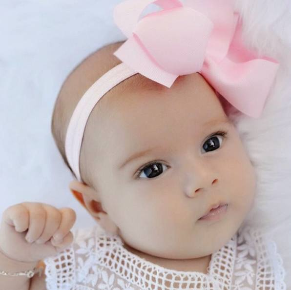Odette pink medium bow baby headband
